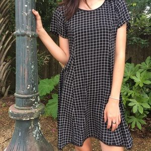 Silence + Noise Black and White Grid Flare Dress